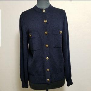 St John Basics Navy Blue Sweater Cardigan Size S